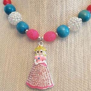 NWOT Handmade Princess Peach Chunky Necklace